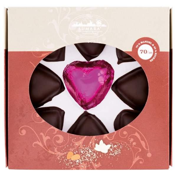 Stralsunder Marzipanherzen im Zartbitterschokolade