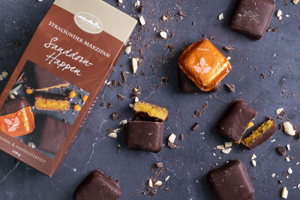 Sanddornhappen mit Zartbitterschokolade
