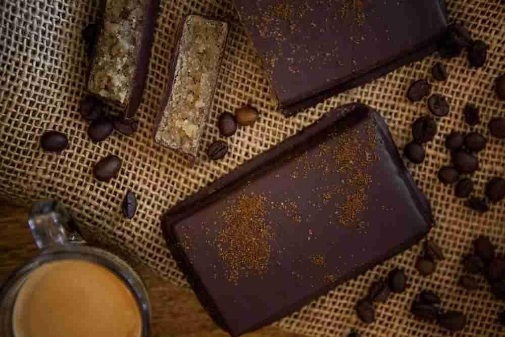 Espresso-Marzipantafel mit Zartbitterschokolade